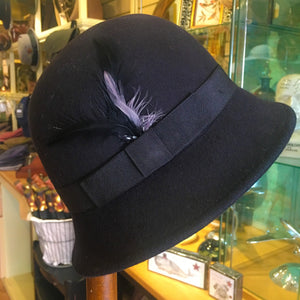 Soft Black Cloche Hat Ribbon and Feather