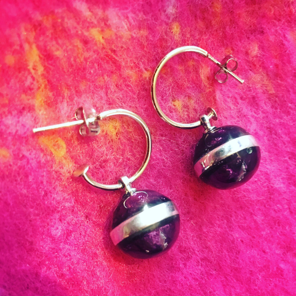 Drop hoop earrings purple