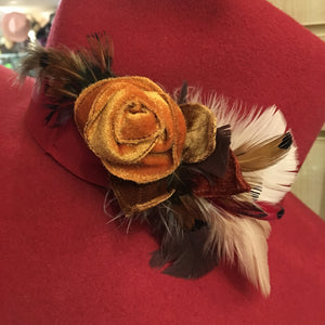 Orange Rose Velvet Flora Brooch with Feathers