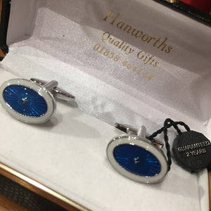 Blue and White Oval Cufflinks