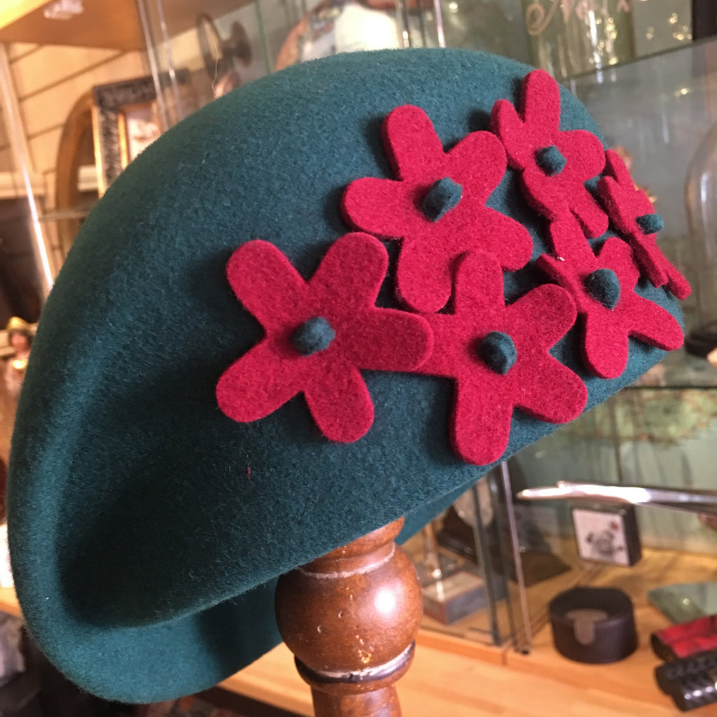 Wool Felt Hat with Flower Decoration