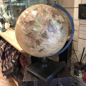 Globe on square wooden base