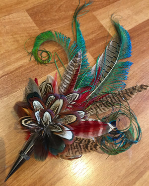 Cone Feather Flower Corsage