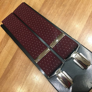 Braces - Chrome Burgundy tiny dot