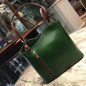 Light Chocolate / Green Leather Shoulder Bag