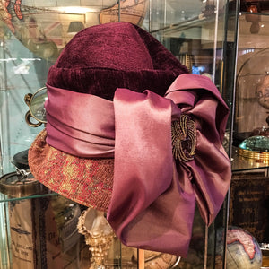 Vintage style tapestry cloche hat with brooch