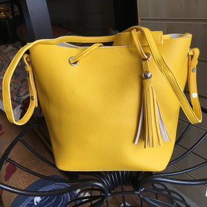 Yellow Shoulder Bag with Tassel