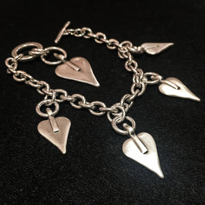 Danon Five Heart Charm T Bar Bracelet