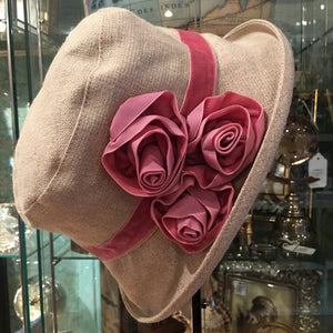 Grace Vintage Style Cloche Hat - Pink Rose