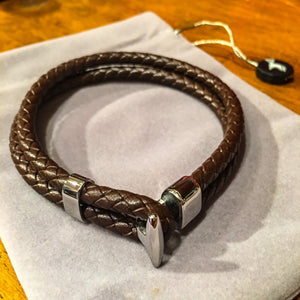 Brown Leather Platted Band Braclet