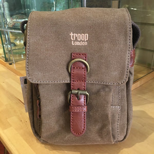 Small brown canvass cross body bag