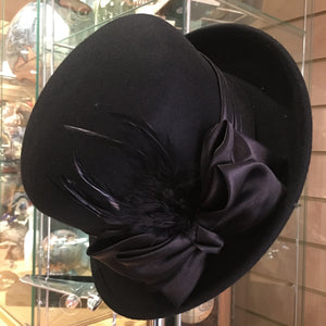 Wool Ladies Hat with Ribbon and Feather