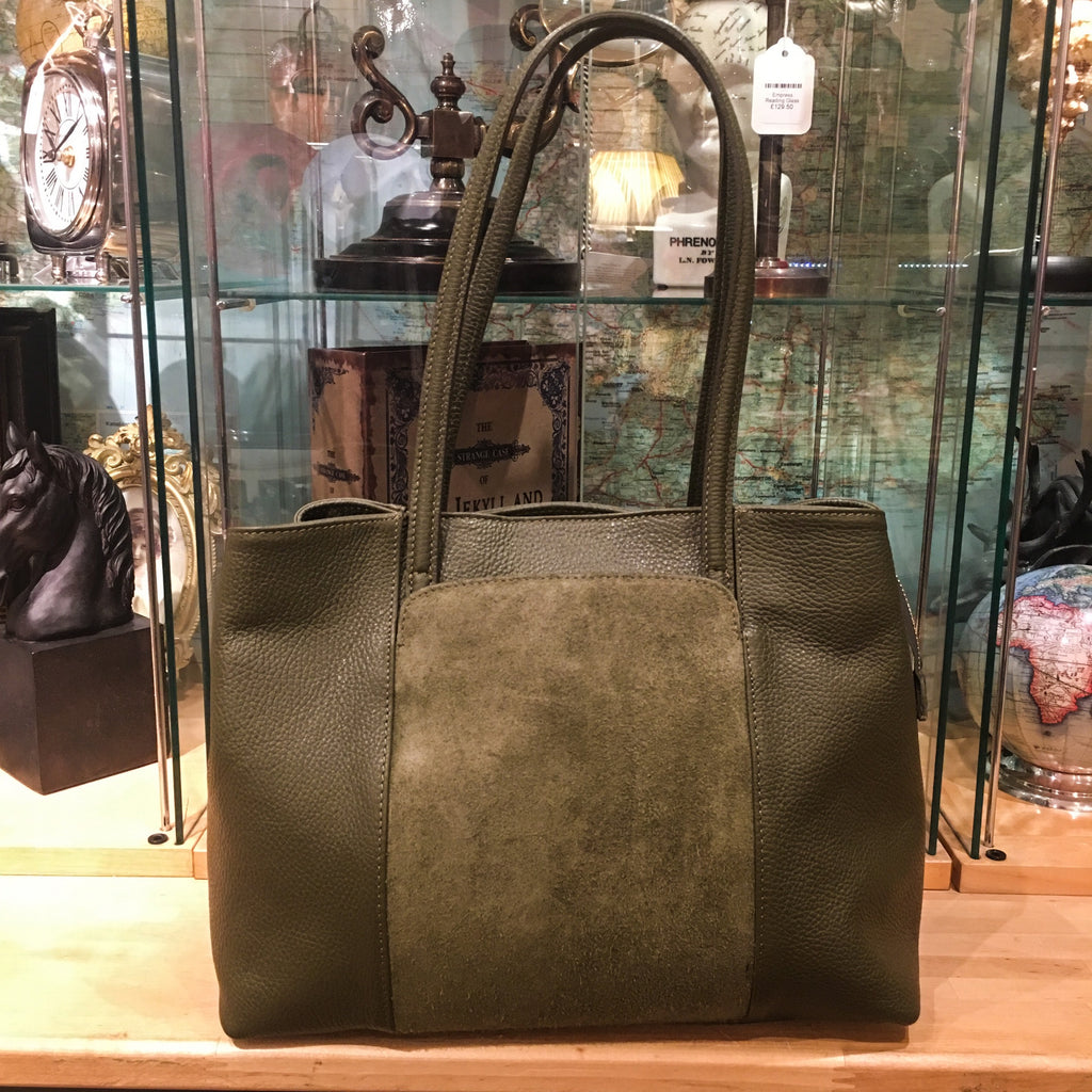 Handbag - Italian Leather with Suede Front Panel