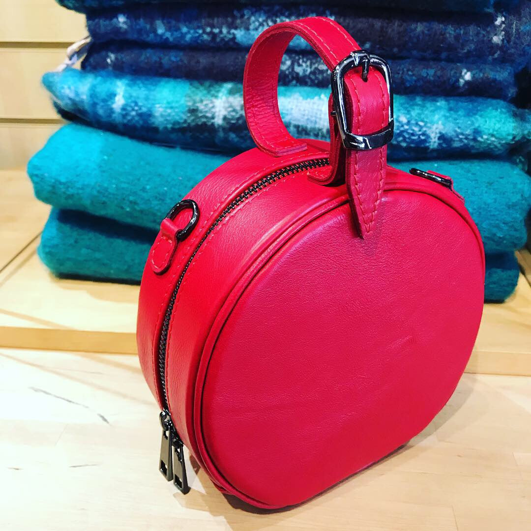 Red Italian leather round grab bag, hand bag