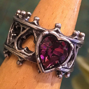 Gothic Style Pierced Pewter Ring with Purple Heart