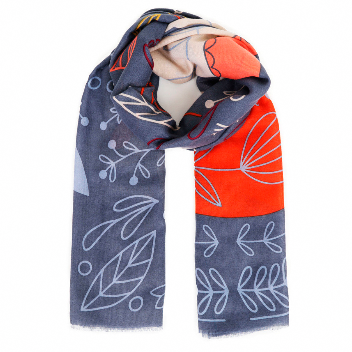 Scarf Scandi fox and hare