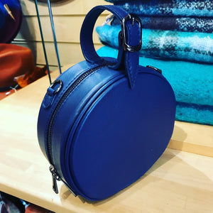 Navy Italian leather round grab bag, hand bag