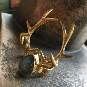 Antler Ring with Labradorite