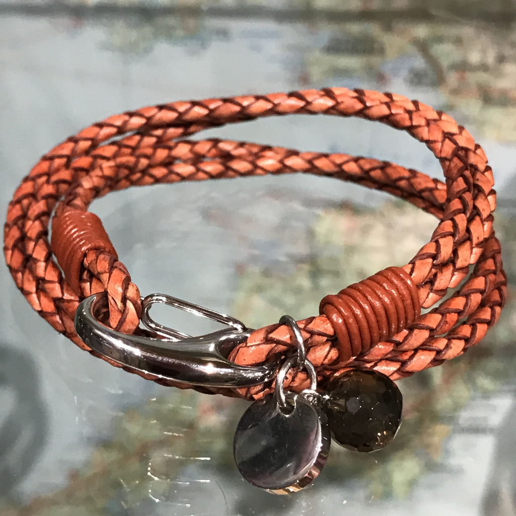 Four strand Plaited Leather Bracelet with Charm