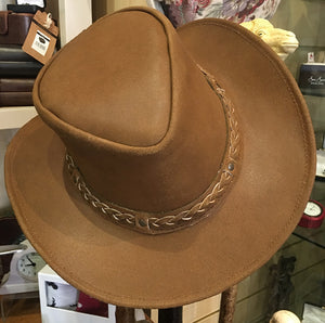 Leather Western Fedora Hat