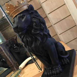Black Lion with Crown Figurine