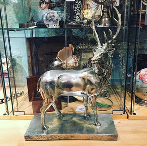 Deer Figurine in a Silver Finish