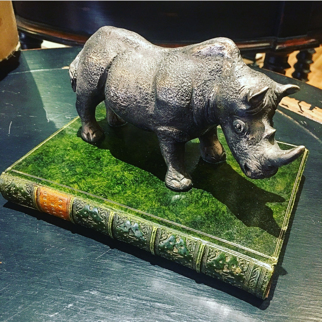 Rhinoceros Paperweight Green with Tan Label