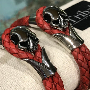 Red Skull Leather Bracelet