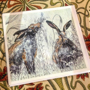 Card - Brown Hares