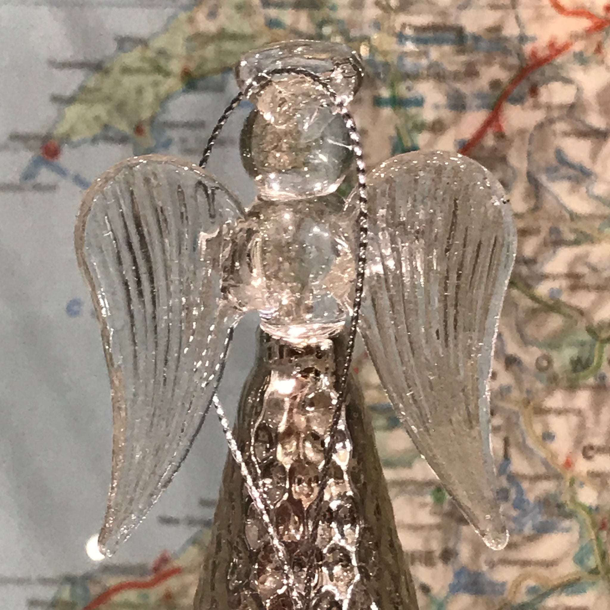 Silver Glass Angel Decoration 14cm