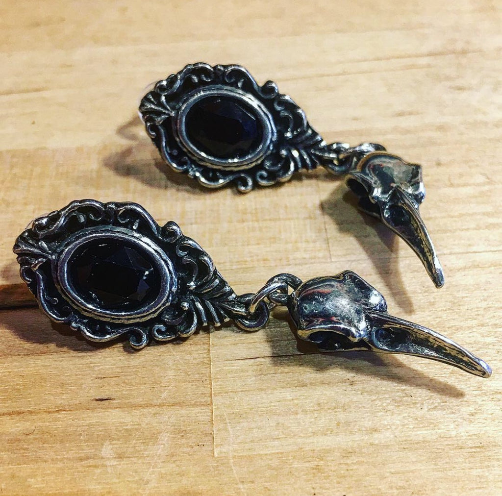Drop Gothic Style Pewter Earrings