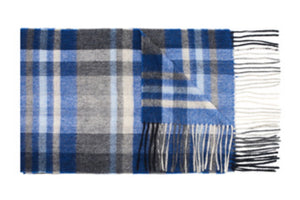 Blue Check Wool Scarf