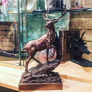 Bronze effect stag on stone