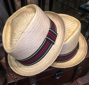 Summer Straw Diamond Topped Trilby Hat