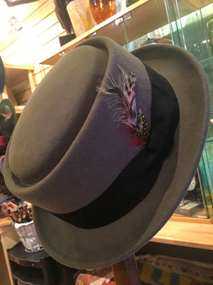 Crushable Pork Pie Hat - Grey