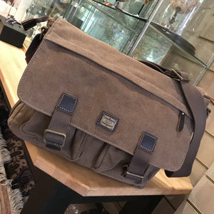 Large Brown Canvas Satchel Bag