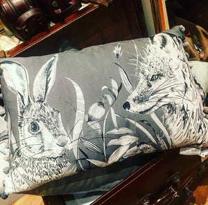 Fox and Hare Oblong Scatter Cushion