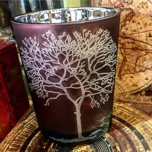 Large Votive Candle Holder - Winter Tree Design