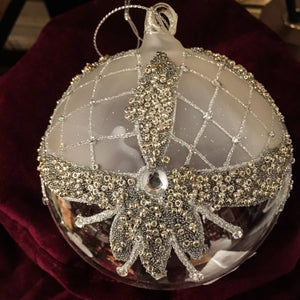 Round Glass bauble with silver beading