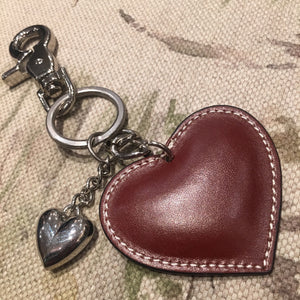 Red Leather Heart Keyring