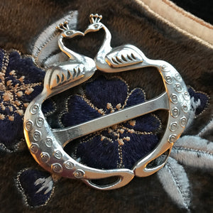 Pewter peacock scarf ring