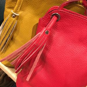 Italian Soft Leather Crossbody Bag With Tassel