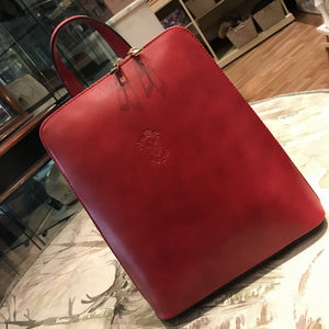 Red Leather Rucksack Bag