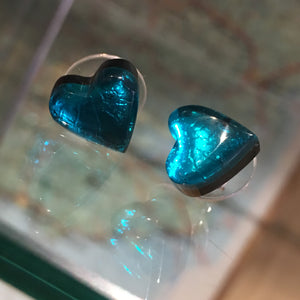 Teal Love Heart Stud Earrings