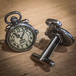 Pewter Cufflinks With Clock Face Design