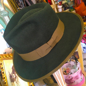 Fedora Olive Felt with ribbon