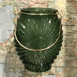 Green glass Karlskoga candle holder