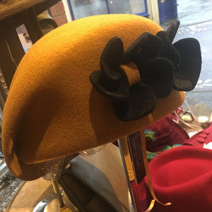 Wool Pillbox Hat with Two Felt Flowers
