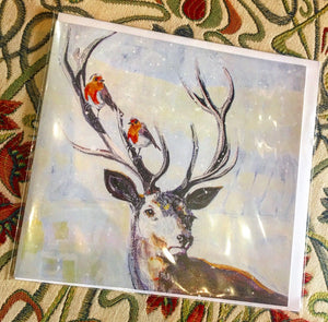 Card - Robins and Deer