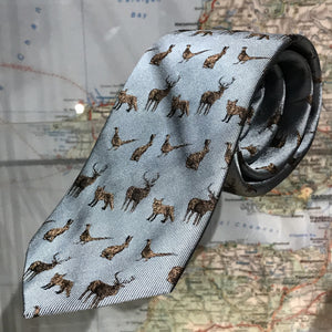 Woven pure silk tie country animals